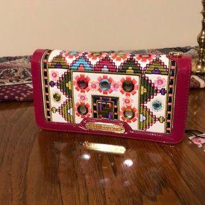 nicole lee pink & white wallet